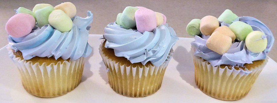 Cupcakes, Blue Frosting, Mini Marshmallows, Sweet, Food