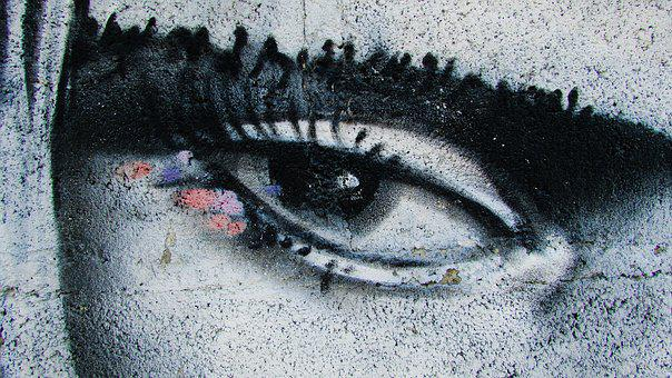 Eye, Woman, Face, Graffiti, Look, Gaze, Paint, Spray