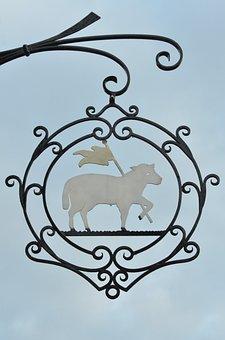 Shield, Board, Sheep, Flag, Wrought Iron, Curl
