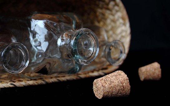 Bottles, Plugs, Glass, Basket, Still Life, Bottle Rack