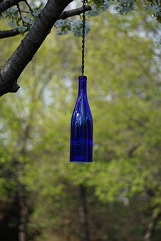 Hanging Bottle Lantern, Cobalt, Blue, Wine Bottle