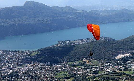 Paragliding, Lac Du Bourget, Mountains