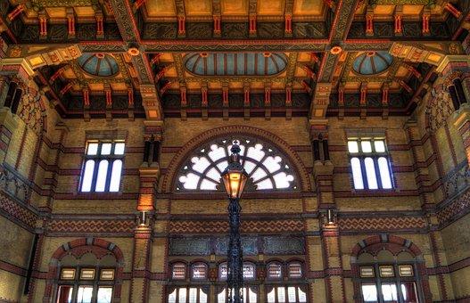 Station, Train, Art, Ceiling, Art Nouveau, Lantern