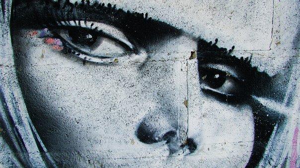 Eyes, Woman, Face, Graffiti, Woman Face, Look, Gaze
