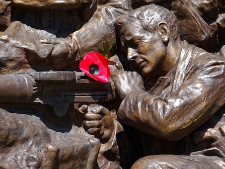 War Memorial, War, Bronze Statue, Men, Poppy, Red