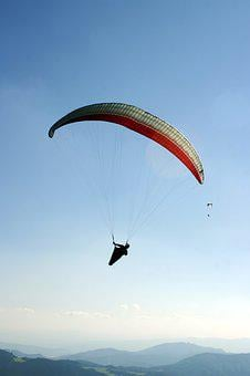 Paragliding, A Parachute, The Sky, Twilight