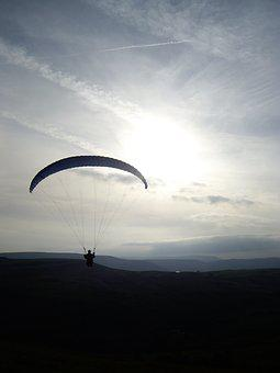 Paragliding, Flying, Sunset