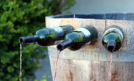Fountain, Wine Barrel, Bottles, Red Wine