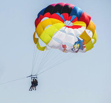 Parachute, Paragliding, Cat And Mouse, Balloon, Sky