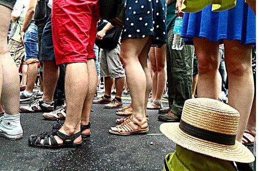 Calves, Legs, Human, Standing On, Stand In Line, Wait