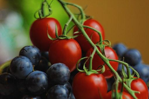 Tomatoes, Blueberries, Grapes, Fruit, Vegetables, Food