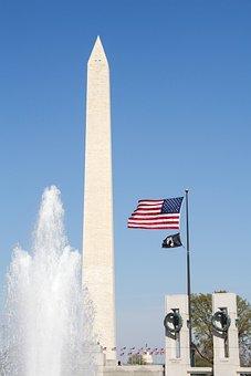 Washington Monument, Usa, Flag, Remembrance, Fountain