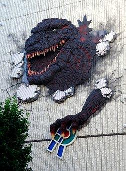 Tokyo, Godzilla, Wall, Advertising