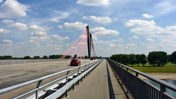 Bridge, Düsseldorf, Rhine, Highway, Railing, Water