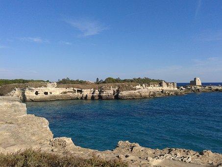 Holidays, August, Puglia, Water, Rocks, Stones, Pier