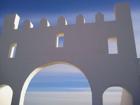 Tunisia, Tozeur, Desert, Sahara, Wgite, Building, Arch