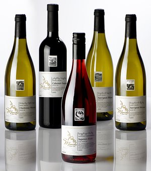 Wine, Red, White, Bottles, Display, Alcohol, Portrait