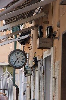 Clock, Bottles, Deco, Old, Wine Bottle, Still Life