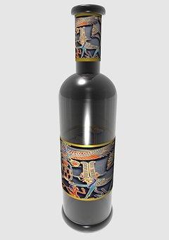 Bottle, Wine, Label, Smoked Glass, Empty