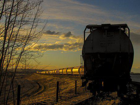 Train, Sunset, Abandoned, Railway, Sky, Transport