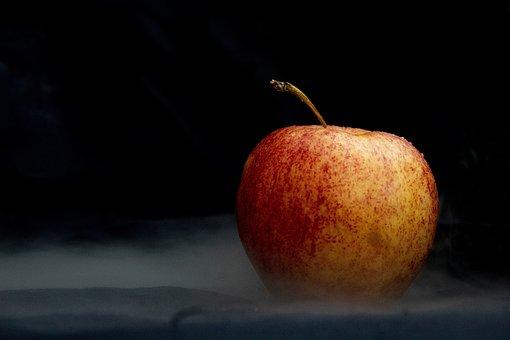 Apple, Fruit, Red, Black Background, Food, Healthy