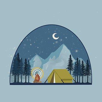 Camp, Tent, Adventure, Nature, Landscape, Night