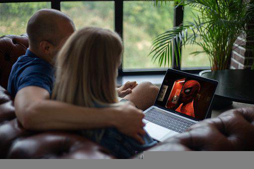 Video Streaming, Laptop, Couple, Movie, Watching