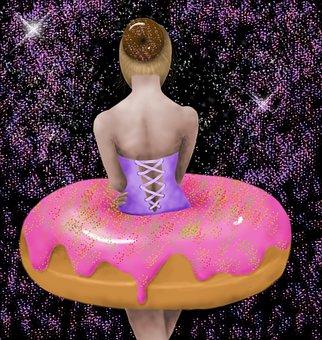 Ballerina, Fantasy, Donut, Ballet, Dancer, Girl, Sweet