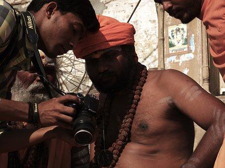 Camera, Priest, People, Varanasi, Hindu, Sadhu, Culture