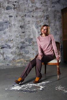 Girl, Armchair, Interior, Costume, Pants, Posture