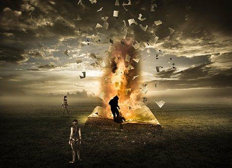 Fantasy, Fire, Book, Field, Light, Magic