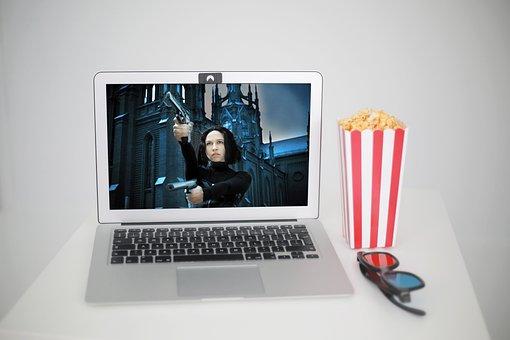 Laptop, Movie, Popcorn, Video Streaming