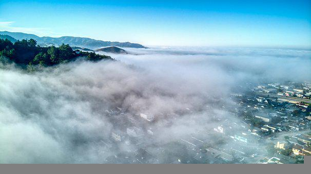 Drone, Pacifica, California, Coast, Costal, Fog