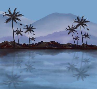 Palm, Landscape, Nature, Marine, Tropical, Sky, Beach