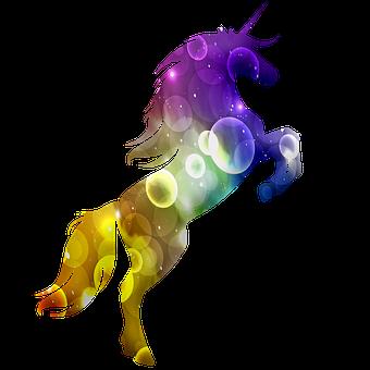 Unicorn Silhouette, Unicorn Line Art, Rainbow Colors