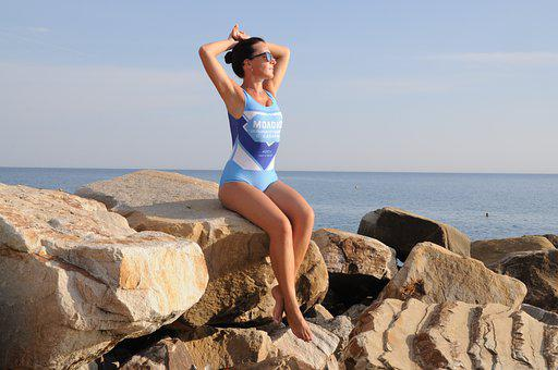 Girl, Sea, Rocks, Beach, Bikini, Woman, Ocean, Happy