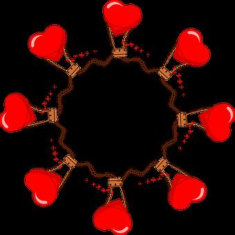 Couple, Hot Air Balloon, Frame, Round, Border, Romantic