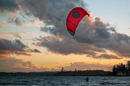 Kite Glider, Sunset, Beach, Sea, Sky, Ocean, Sunrise