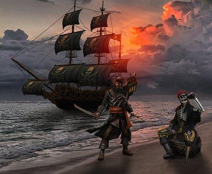 Beach, Pirate, Fantasy, Pirates, Sea, Ship, Ocean