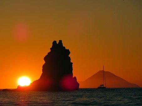 Sunset, Volcano, Volcano Island, Italy