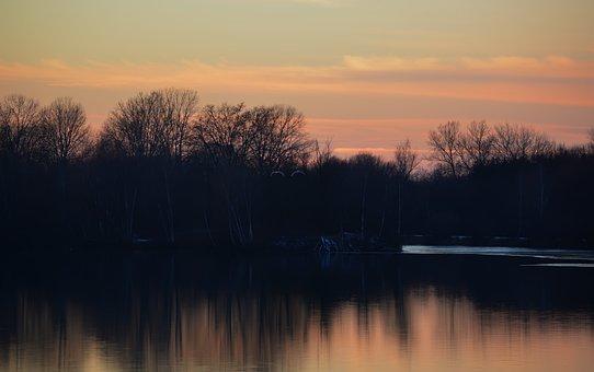 Nature, River, Sunset, Landau An Der Isar, Isar