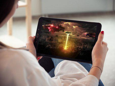 Tablet, Video Streaming, Movie, Watching