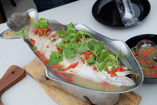 Steamed Sea Bass With Lemon, Thailand Food, Food