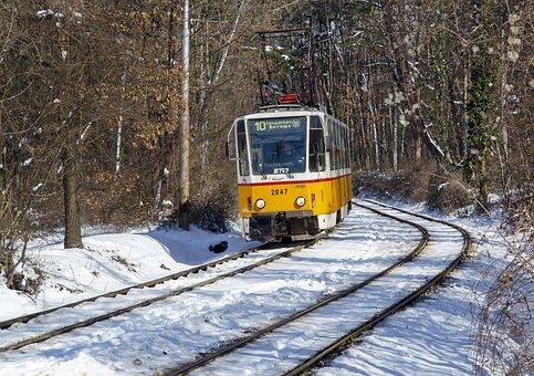 Tram, Trolley, Transport, Rail, Public, Sofia, Snow