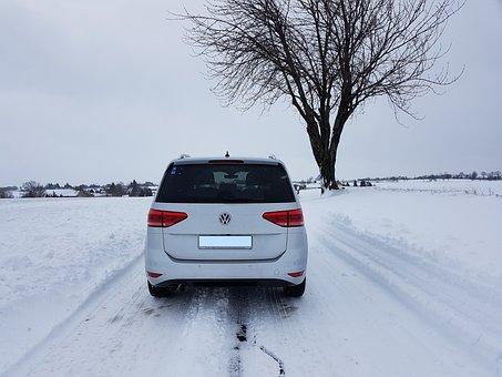 Auto, Snow, Road, Winter, Vw, Tree, Individually, Alone