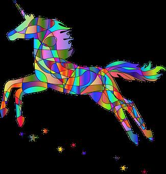 Unicorn Cartoon, Unicorn Line Art, Rainbow Colors