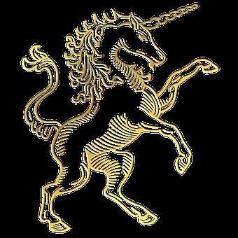 Gold Foil Unicorn Silhouette, Unicorn Line Art, Unicorn