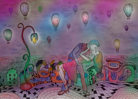 Love, Kiss, Watercolor, Figure, Illustration