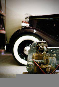 Ford, 1934, Whitewall, Cabriolet, 34 Ford, Engine