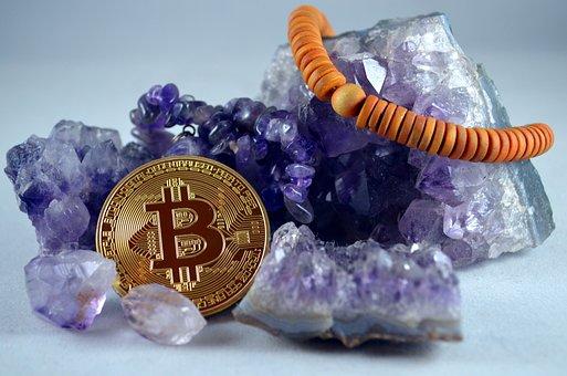 Bitcoin, Amethyst, Wooden Bracelet, Cryptocurrencies